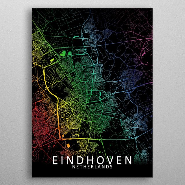 Eindhoven, Netherlands Rainbow City Map metal poster