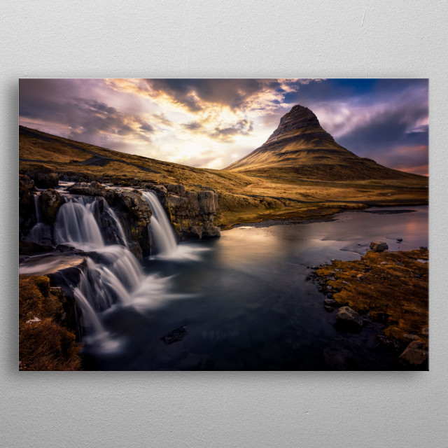 Famous waterfall in Iceland with the mountain on the background. metal poster