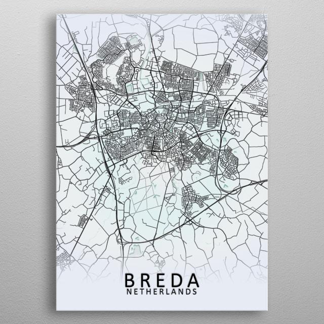Breda, Netherlands,White City Map metal poster