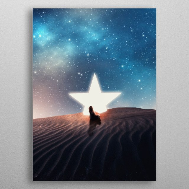 Girl sitting in front of a fallen star on a colorful night. metal poster