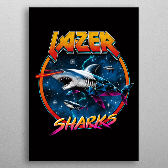80's retro wave of a shark. metal poster