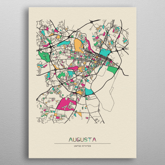Colourful street map of Augusta, Georgia. The map is randomly painted with modern and pop colors to give abstract look to the design. metal poster