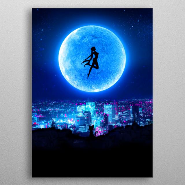 Cyberpunk Sailor Moon inspired artwork metal poster