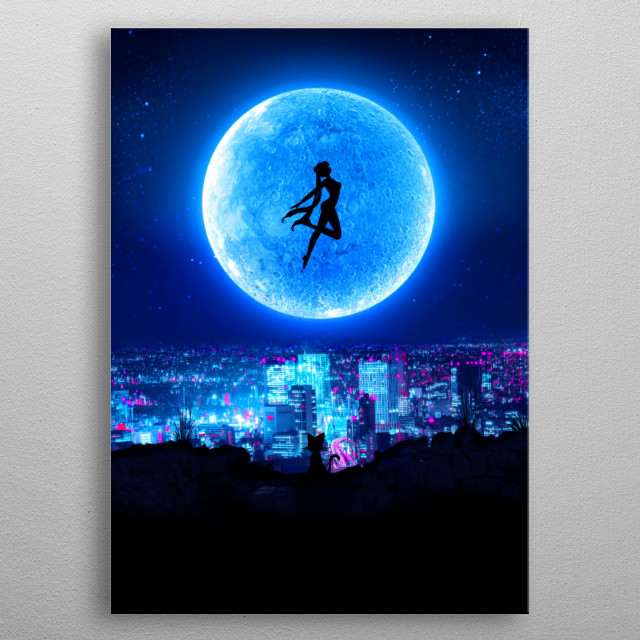 Cyberpunk Sailor Moon inspired artwork metal poster