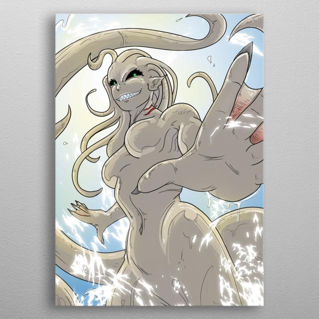 The kraken rises from the depths. metal poster