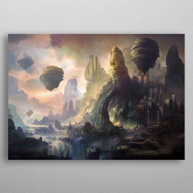 Fantasy landscape metal poster