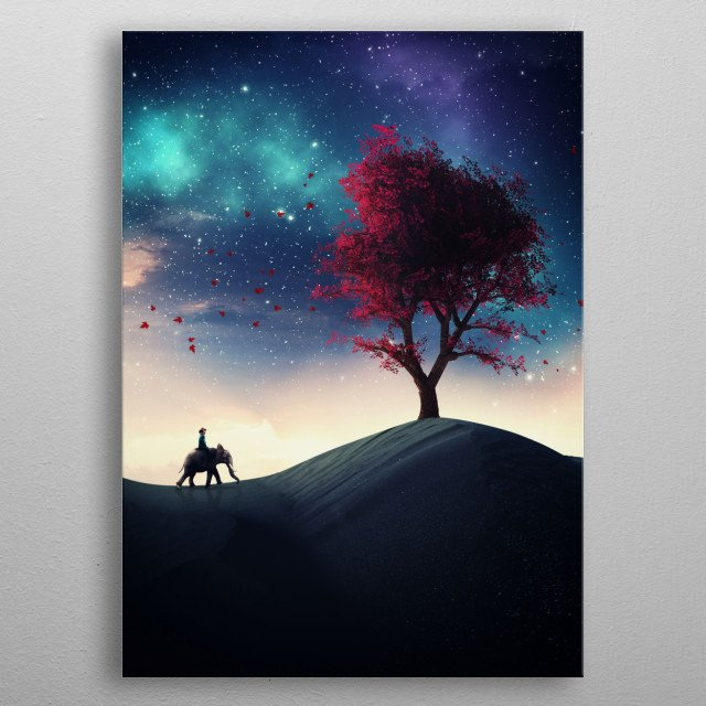 Traveler riding an elephant to a big tree at night. Starry night with aurora borealis. metal poster