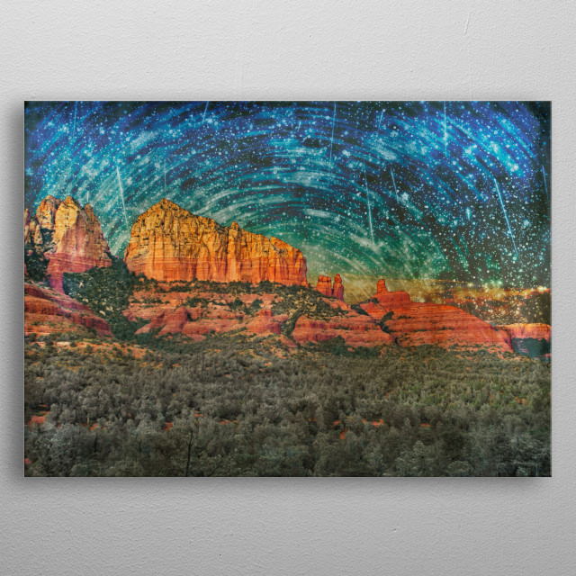 A surreal Sedona Arizona scene with red cliffs and Pinon Pine forest in the foreground. Its mystical vortex reputation in print metal poster