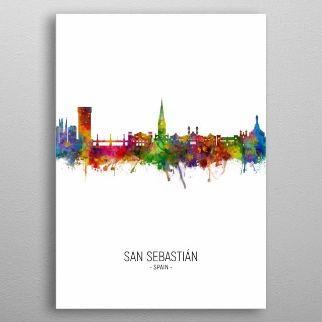 Watercolor art print of the skyline of San Sebastián, Spain metal poster