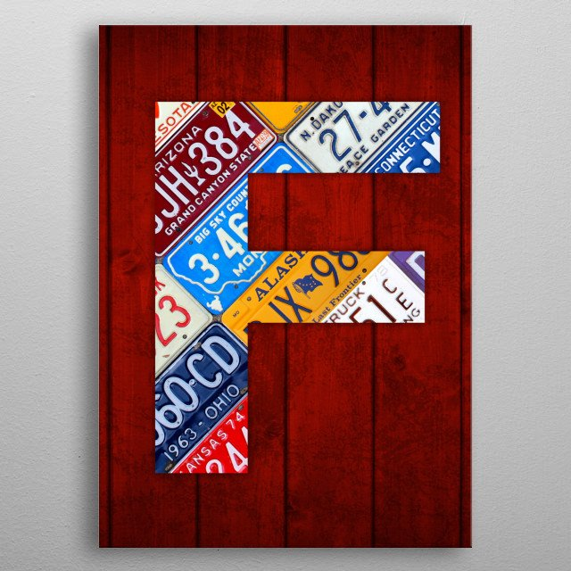 License Plate Letter F metal poster