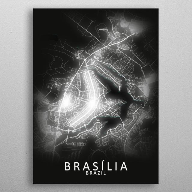 Brasília, Brazil, LED Glow City Map metal poster