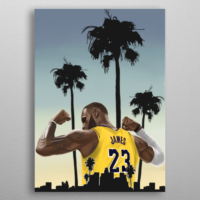 Lebron James over Los Angeles metal poster
