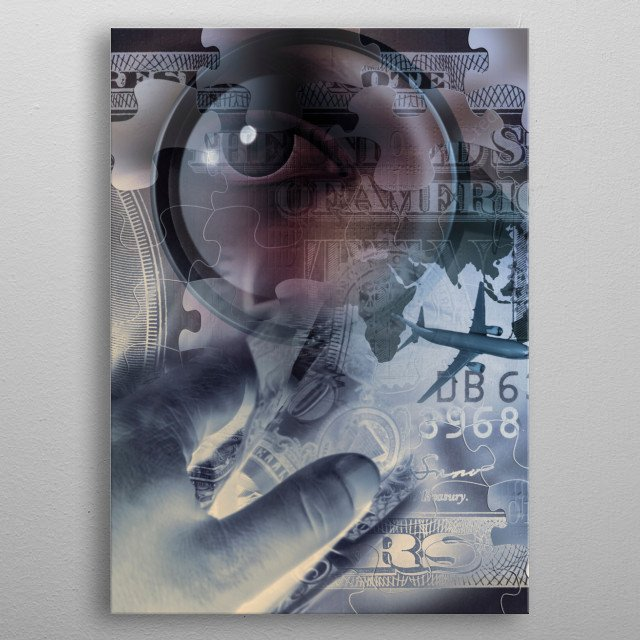 Business collage. Hand holds dollars. Airplane, magnify glass and eye metal poster