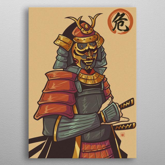 Full armored angry samurai metal poster