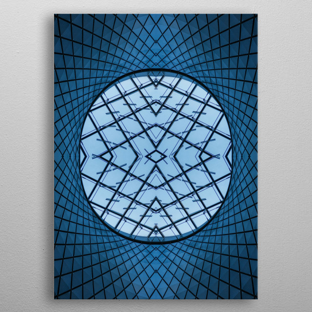 Abstract, geometric and perfectly symmetrical image of architecture and building structures creating surreal spaces and worlds. metal poster