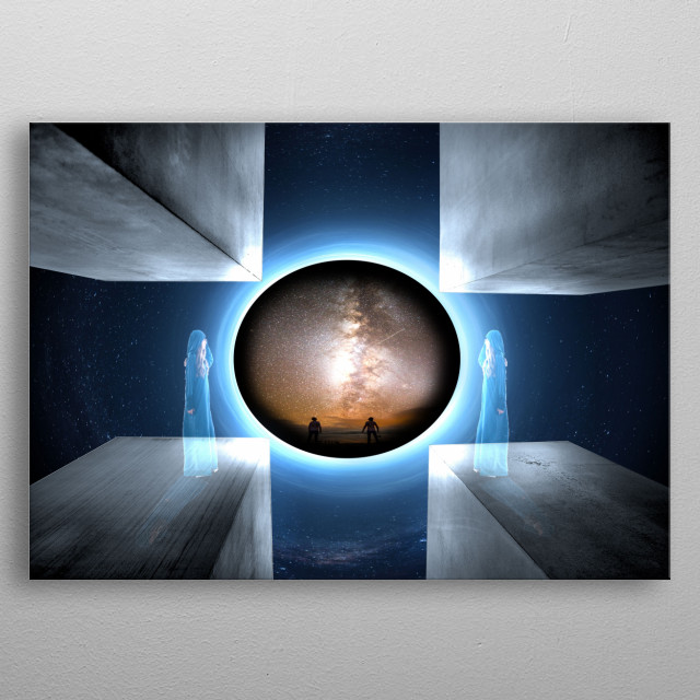 Visionary picture of a black hole behind the curtain with multidimensional perspective of view metal poster