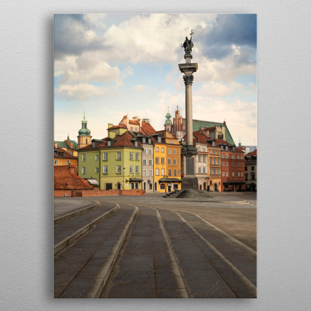 The old town in Warsaw, Poland metal poster