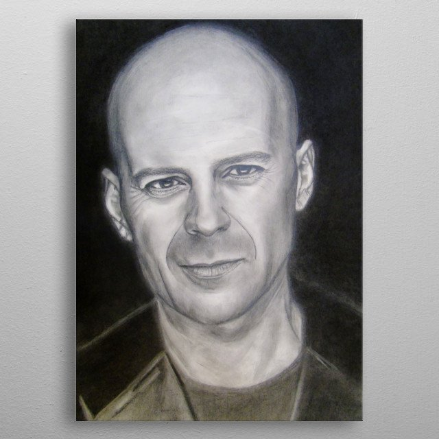 Bruce Willis, pencil painting, 100% handmade ,original,decorate your interior and for a long time will give you and your family positive emo metal poster