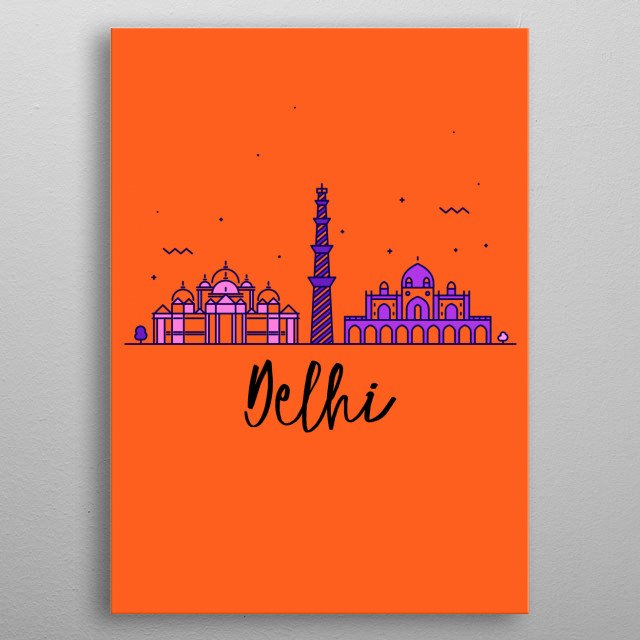 Your favorite city Delhi is now decorating your walls in pop and trendy colours ! See and shop the complete collection ! metal poster