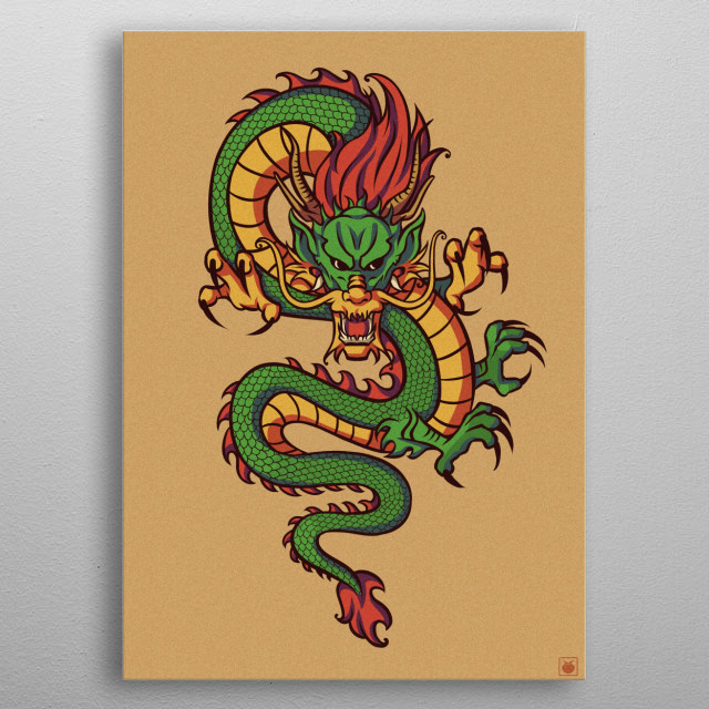 The Might Heavenly Chinese Dragon metal poster
