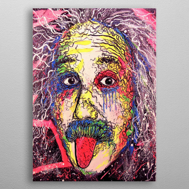 Einstein, oil painting on canvas without frame since the edges are painted, 100% handmade with a palette knife and high-quality oil,the orig metal poster