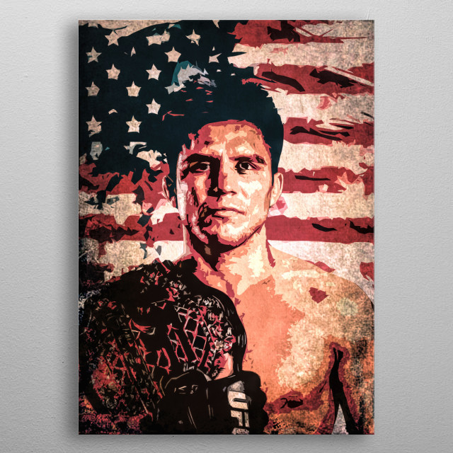 Fighter Henry Cejudo (The Messenger) cartoon/pop art portrait with flag of the USA. metal poster