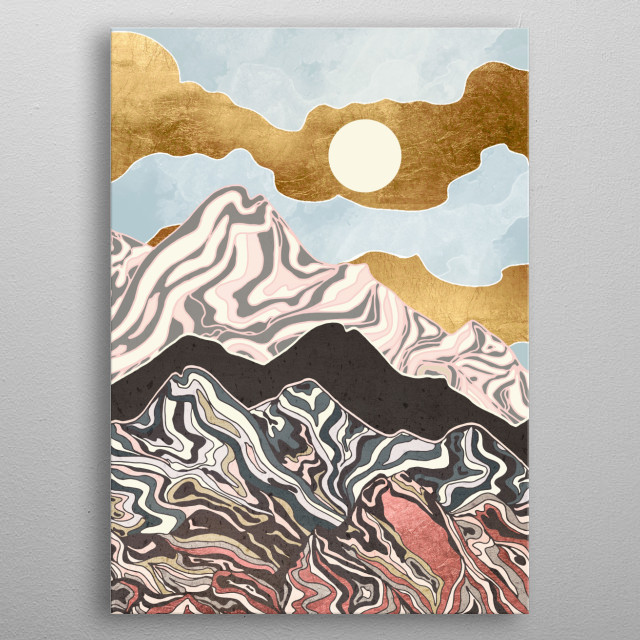 Abstract depiction of a summer sky with gold, mountains, blue and coral metal poster