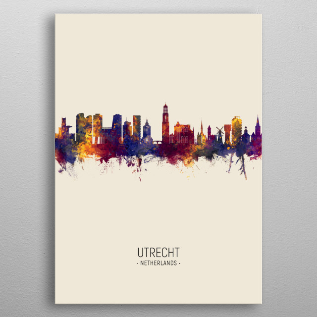 Watercolor art print of the skyline of Utrecht, The Netherlands metal poster