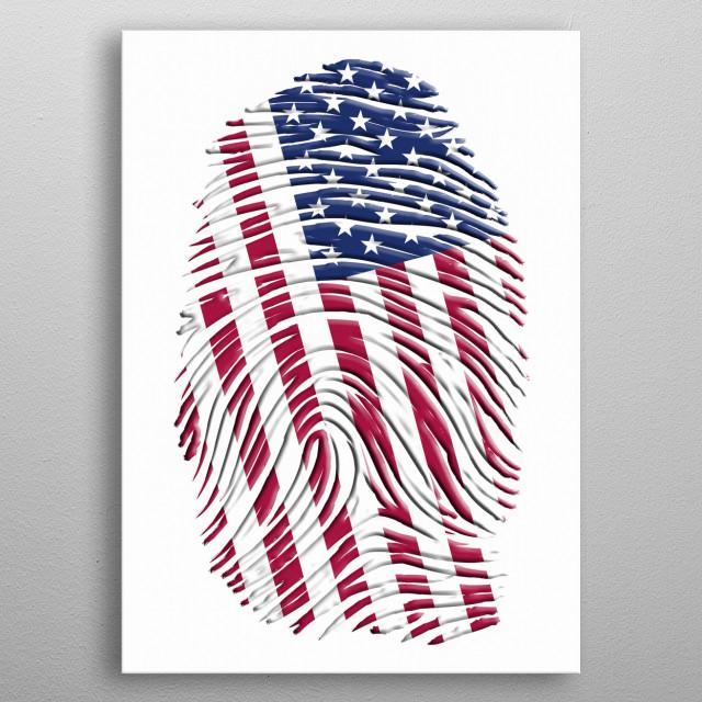USA Fingerprint metal poster