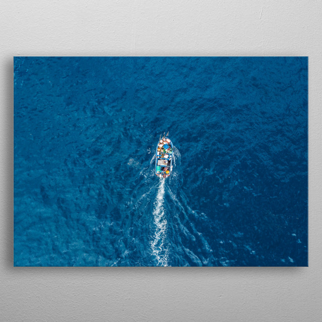 Top view of a traditional fishing boat sailing metal poster