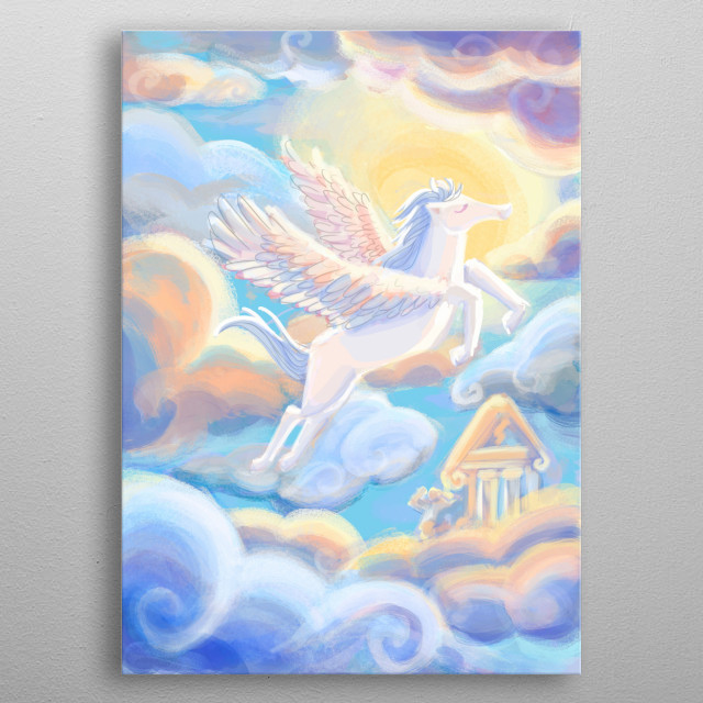 Pegaso is the horse Zeus gave to Hércules, again inspired by the disney movie. I am so much into greek mythology, and here are some of them. metal poster