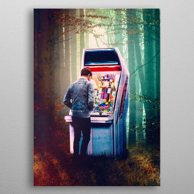 surreal digital collage  metal poster