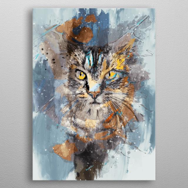 Cat art metal poster