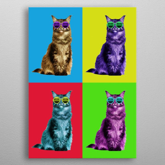 Cool trippy design of a cat in pop culture style art. metal poster