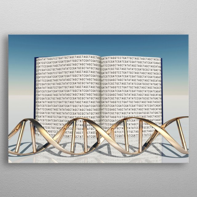 Book with Genetic Code and Strand of DNA metal poster