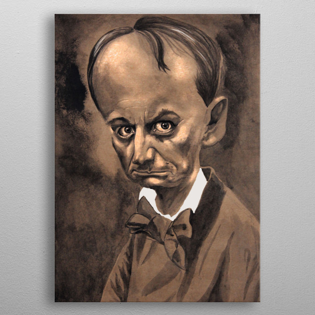 Charles Baudelaire caricature metal poster