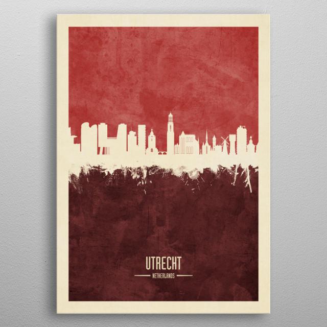 Watercolor art print of the skyline of Utrecht, The Netherlands metal poster