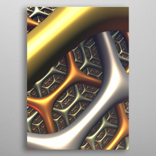 A three-dimensional fractal rendering, created with Mandelbulb 3D software. metal poster
