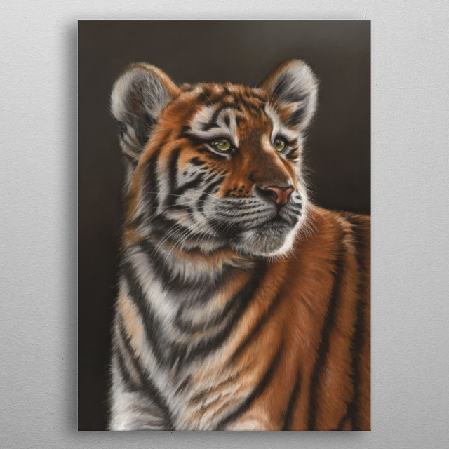 This image of a tiger cub is from an original pastel  artwork. This would an ideal gift for a wildlife lover. metal poster
