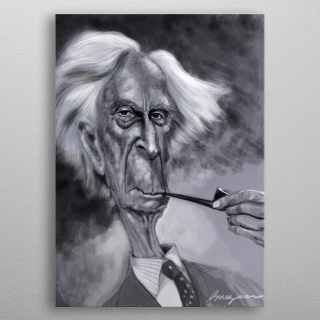 Bertrand Russell digital caricature metal poster