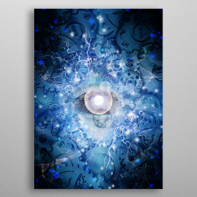 Eye and gears design - Welcome to the machine metal poster