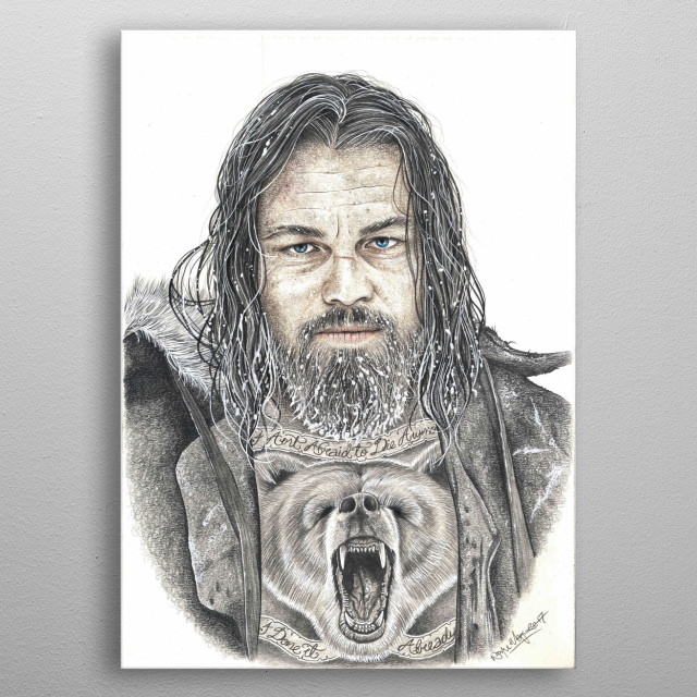 The Revenant - Leonardo Di Caprio Pencil artwork metal poster