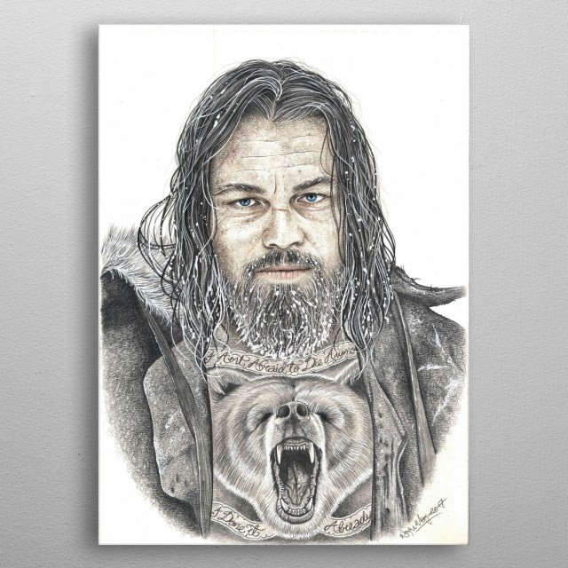 The Revenant - Leonardo Di Caprio Pencil artwork metal poster