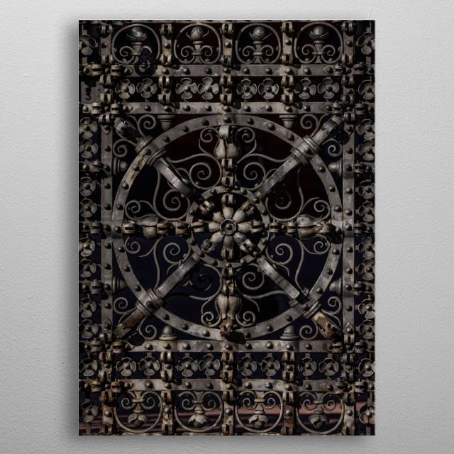 Closeup of a pretty ornamented steel gate metal poster