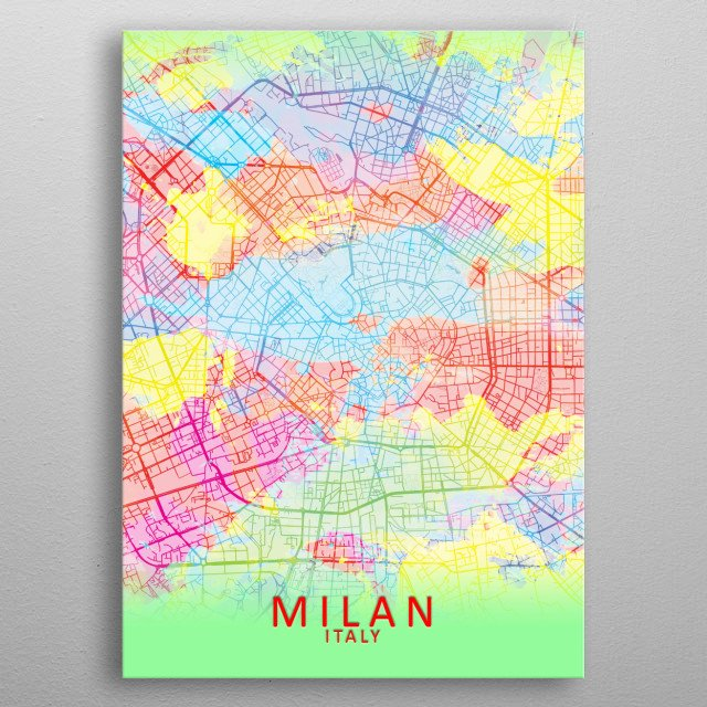 Milan Italy Splash Map by City Map Art Prints | metal posters - Displate