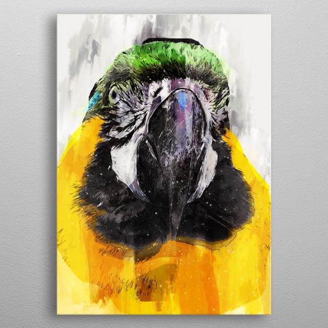 Parrot art metal poster