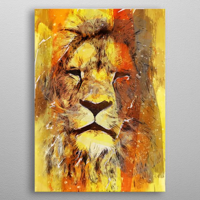 Lion art metal poster