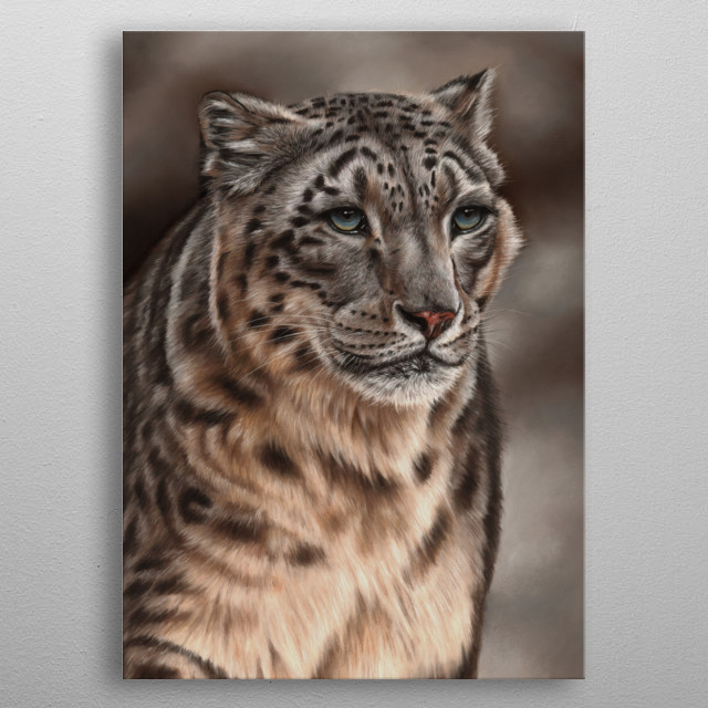 Portrait of a snow leopard. The original artwork was created using soft pastels. An ideal gift for any wildlife lover. metal poster