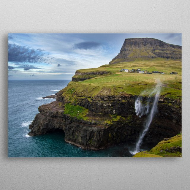 What wishful shelter Are these islands few, 'midst the torrid oceans blue. metal poster