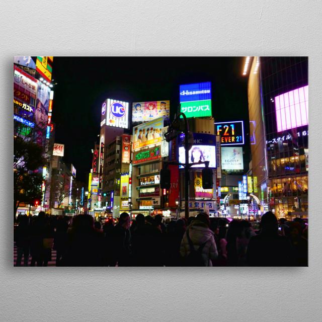Shibuya at night metal poster